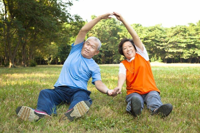 Het gelukkige Hogere paar doet fysieke opleiding royalty-vrije stock foto