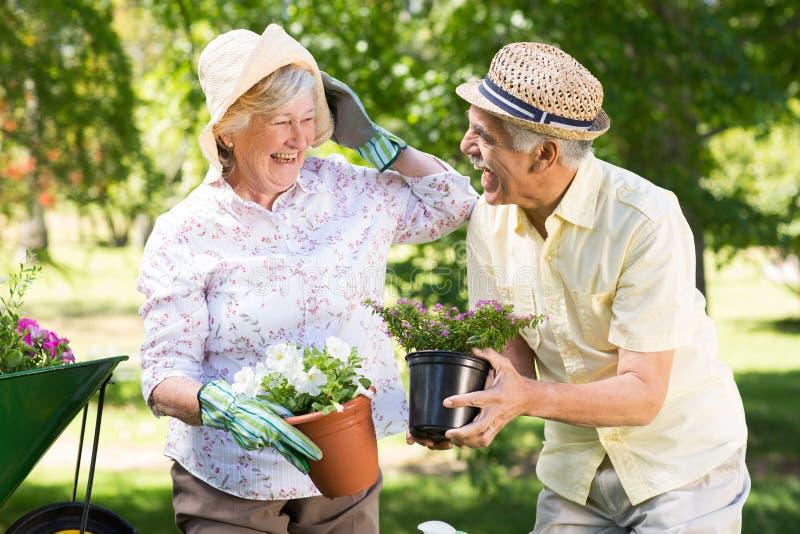 Het gelukkige hogere paar tuinieren