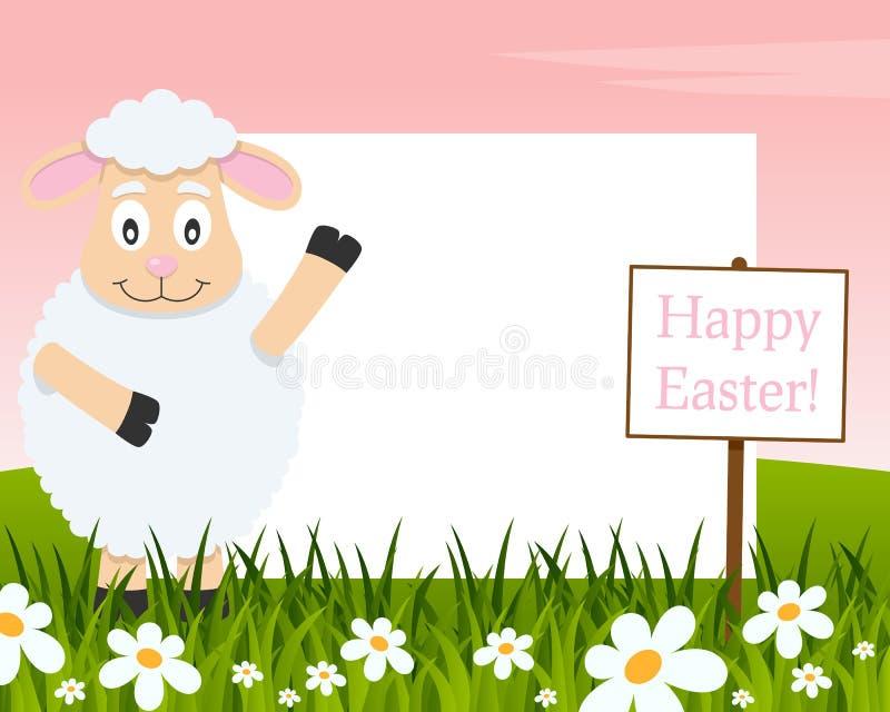 Het gelukkige Horizontale Kader van Pasen - Lam vector illustratie