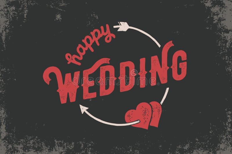 Het gelukkige huwelijkshand van letters voorzien met harten voor huwelijkskaarten en uitnodiging Vector illustratie stock illustratie