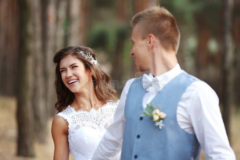 Het gelukkige huwelijkspaar in openlucht op vage achtergrond, sluit omhoog royalty-vrije stock foto
