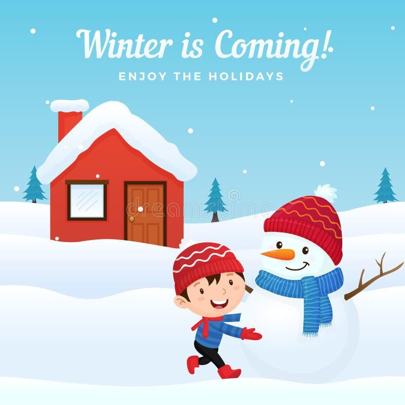Het gelukkige jonge geitje geniet van makend en speel met leuke geklede sneeuwman bij voorzijde van huis in wintertijd vectorillu vector illustratie