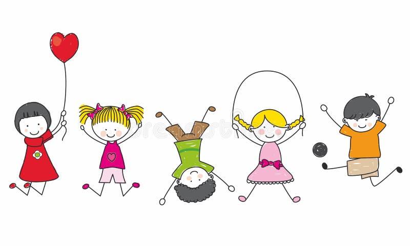 Het gelukkige jonge geitjes spelen royalty-vrije illustratie