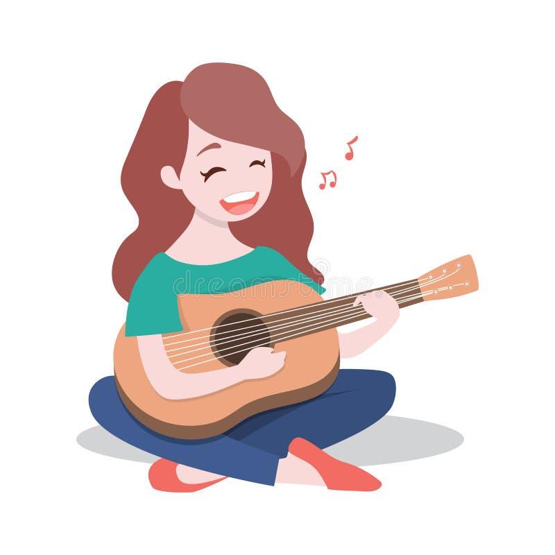 Het gelukkige jonge meisje die de gitaar spelen en zingt een lied, dat op witte achtergrond wordt geïsoleerd royalty-vrije illustratie