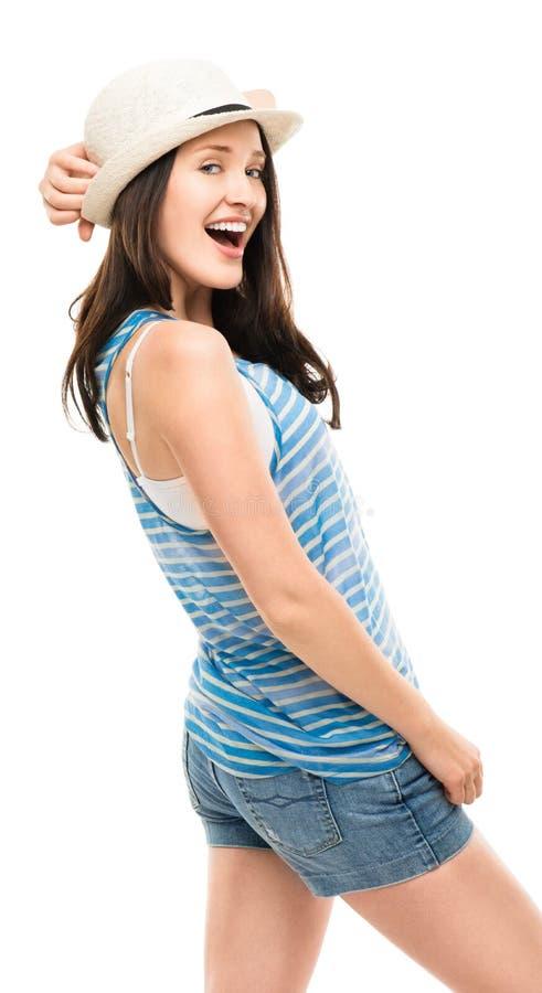 Het gelukkige jonge vrouw hipster glimlachen geïsoleerd op witte achtergrond royalty-vrije stock foto