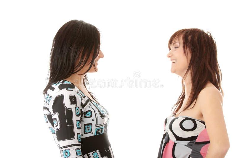Het gelukkige jonge vrouwenvrienden spreken stock foto's