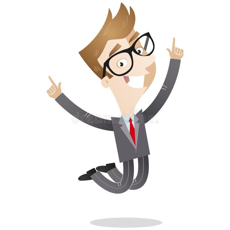 Het gelukkige jonge zakenman springen vector illustratie