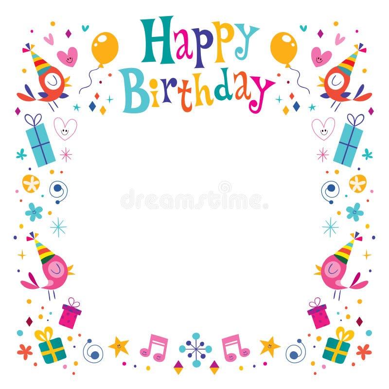 Het gelukkige kader van de Verjaardags decoratieve grens royalty-vrije illustratie