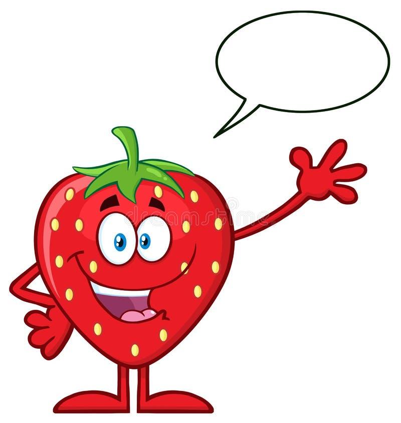 Het gelukkige Karakter die van de het Beeldverhaalmascotte van het Aardbeifruit voor Groet met Toespraakbel golven vector illustratie