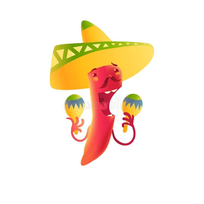 Het gelukkige karakter die van de Spaanse peperpeper in sombrero Mexicaanse maracas spelen stock illustratie