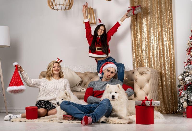 Het gelukkige Kerstmis vieren van jongeren met honden en giften stock foto