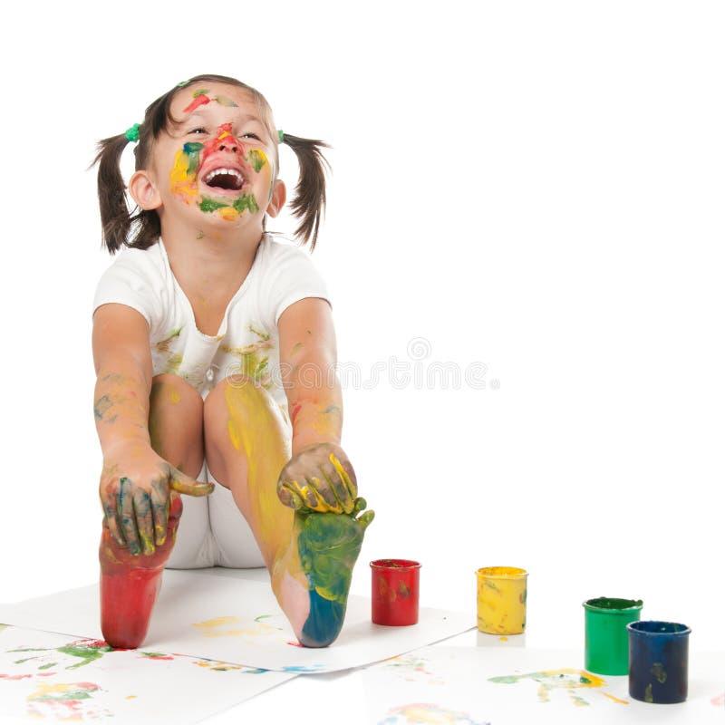 Het gelukkige kind schilderen stock afbeelding