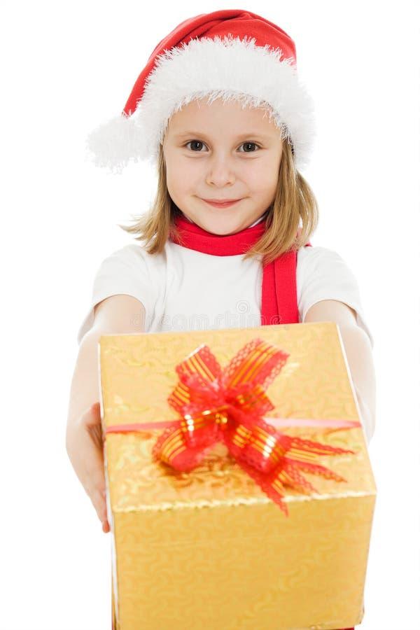 Het gelukkige kind van Kerstmis met een doos stock foto