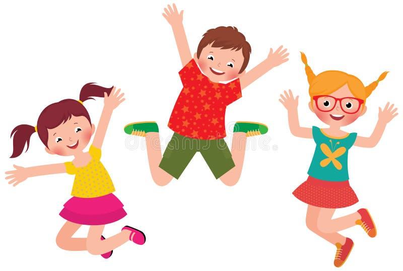 Het gelukkige kinderen springen geïsoleerd op witte achtergrond stock illustratie