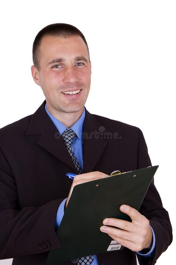 Het gelukkige klembord van de zakenmanholding stock fotografie