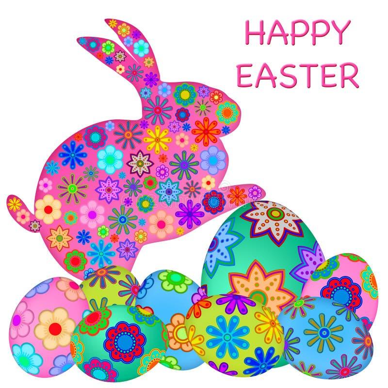 Het gelukkige Konijn van de Paashaas met Kleurrijke Eieren stock illustratie