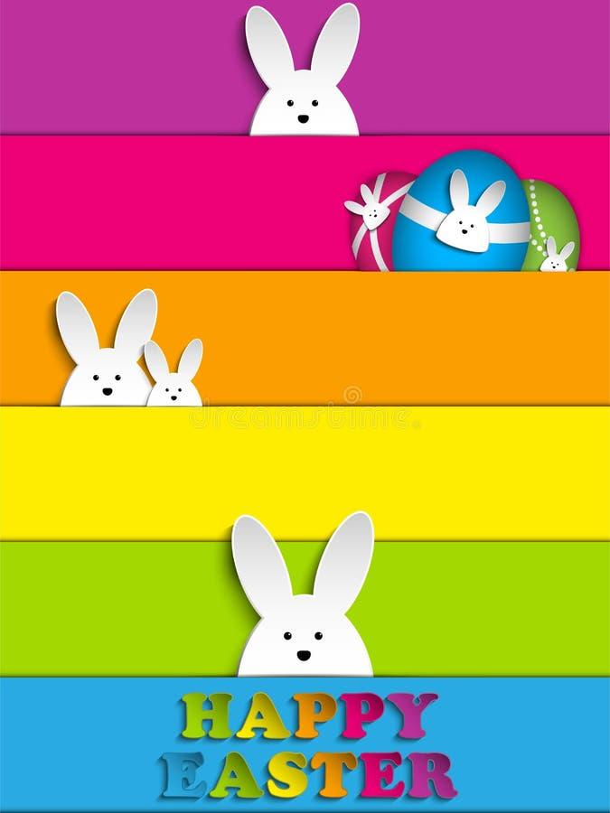 Het gelukkige Konijntje van het Konijn van Pasen op de Achtergrond van de Regenboog stock illustratie