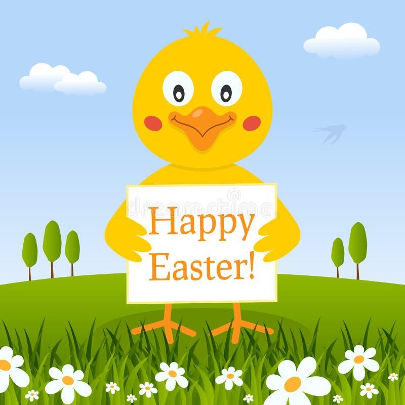 Het gelukkige Leuke Kuiken van Pasen in een Weide royalty-vrije illustratie