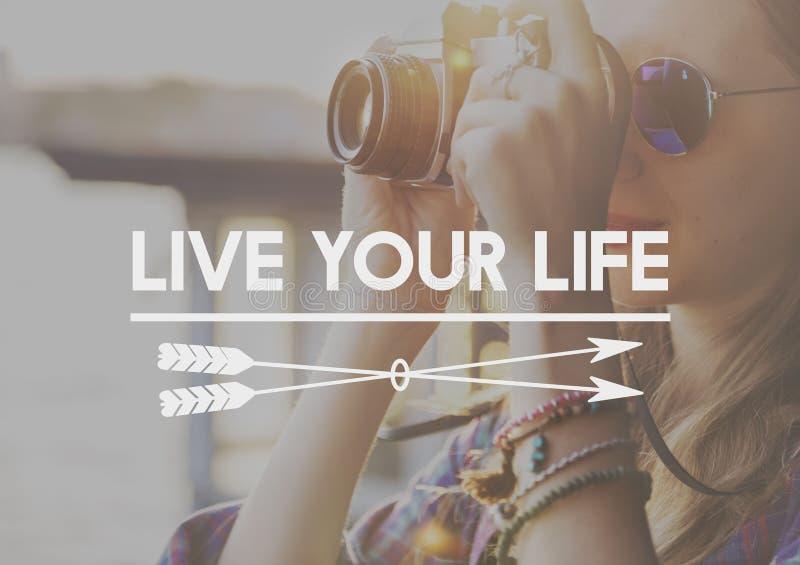 Het gelukkige Leven voelt Goed Geluk Live Concept stock fotografie