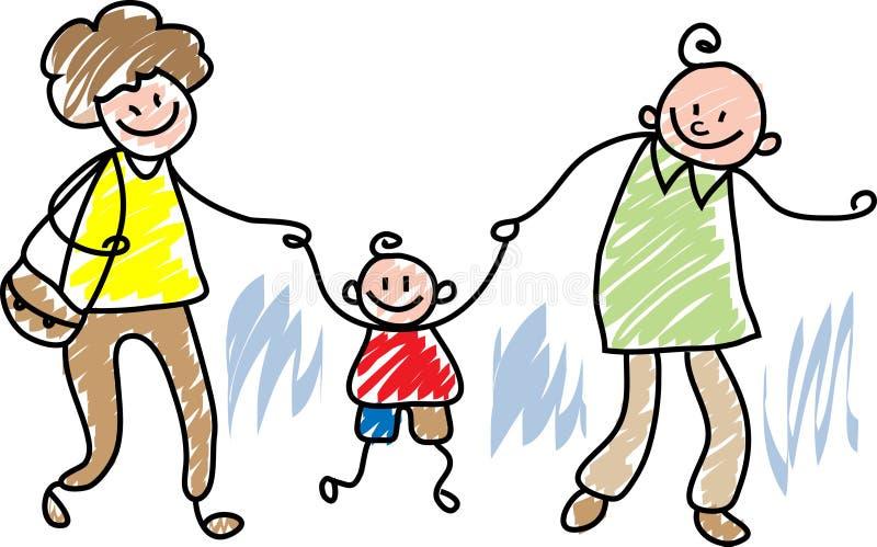 Het gelukkige Lopen van de Familie stock illustratie