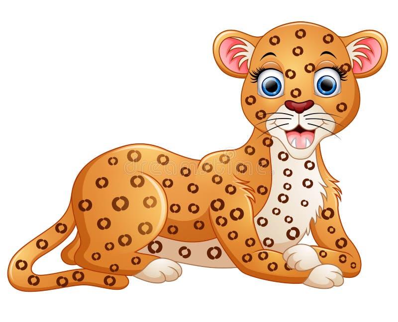Het gelukkige luipaardbeeldverhaal bepaalt vector illustratie