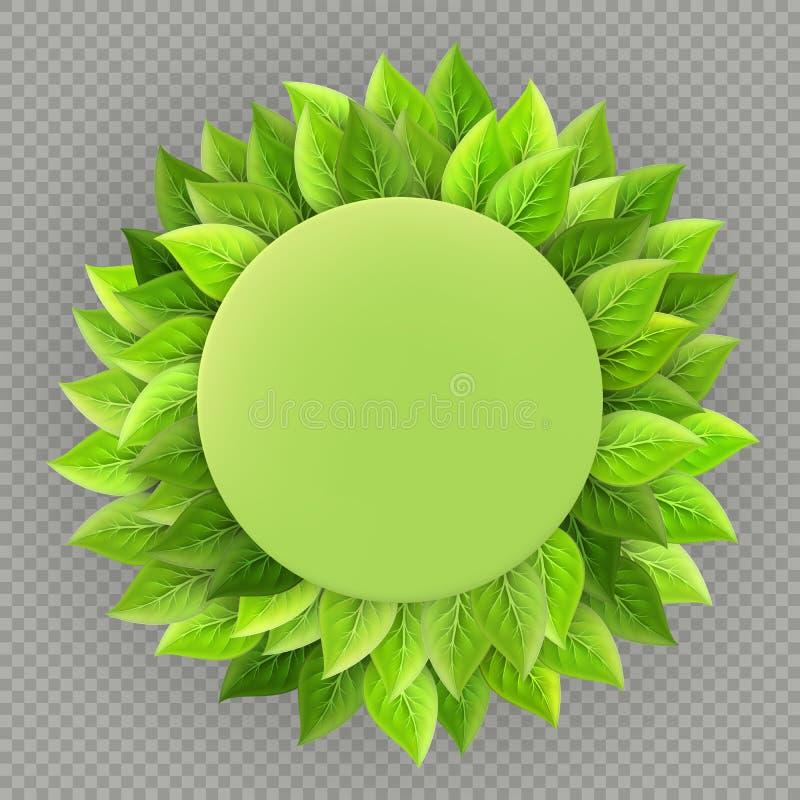 Het gelukkige malplaatje van de Aardedag Ecologiethema Helder vers groen die bladerenkader op transparante achtergrond wordt geïs royalty-vrije illustratie