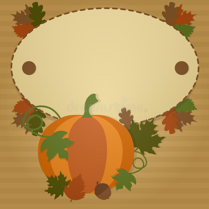 Het gelukkige malplaatje van de Dankzeggingskaart met pompoen en kleurrijke bladeren stock afbeeldingen