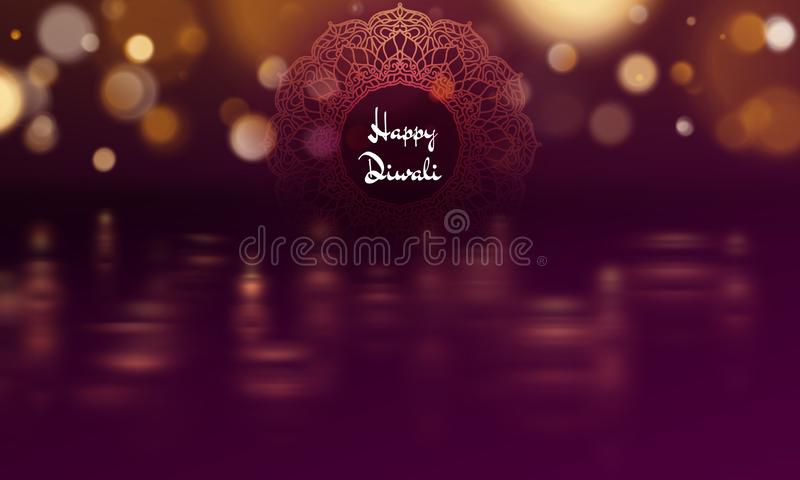 Het gelukkige malplaatje van de de olielamp van diwalidiya Het Indische Hindoese festival van Deepavali van lichten Eps 10 vector illustratie