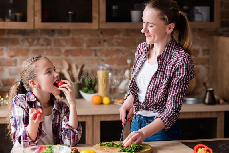 Het gelukkige mamma die van de familiekok de keuken van het maaltijdhuis voorbereiden royalty-vrije stock afbeelding