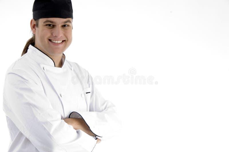 Het gelukkige mannelijke chef-kok stellen voor camera royalty-vrije stock afbeeldingen