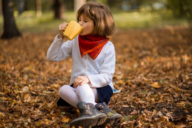 Het gelukkige meisje drinkt hete thee in de herfstpark stock afbeeldingen