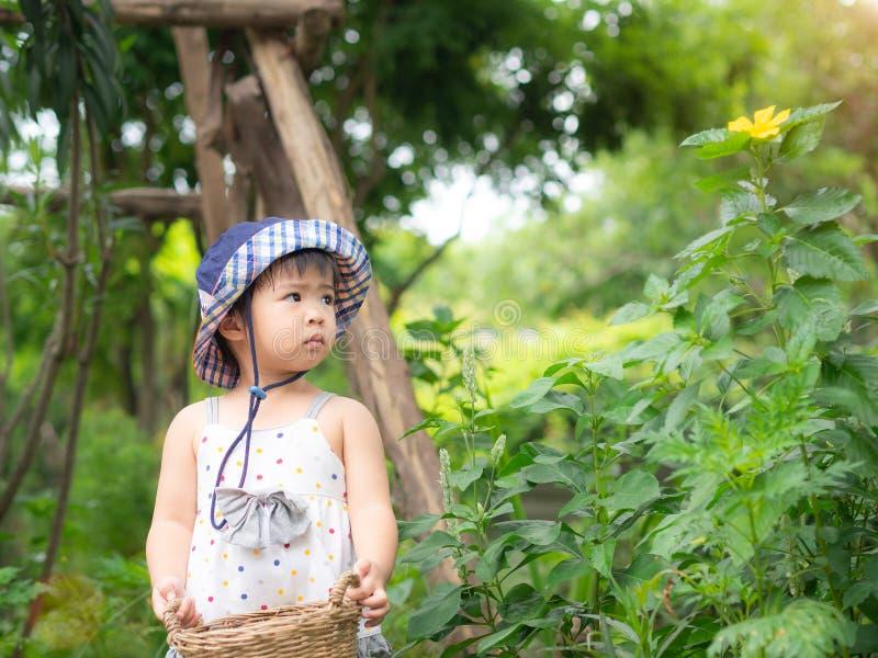 Het gelukkige meisje houdt de mand in het landbouwbedrijf De landbouw & Childre stock foto