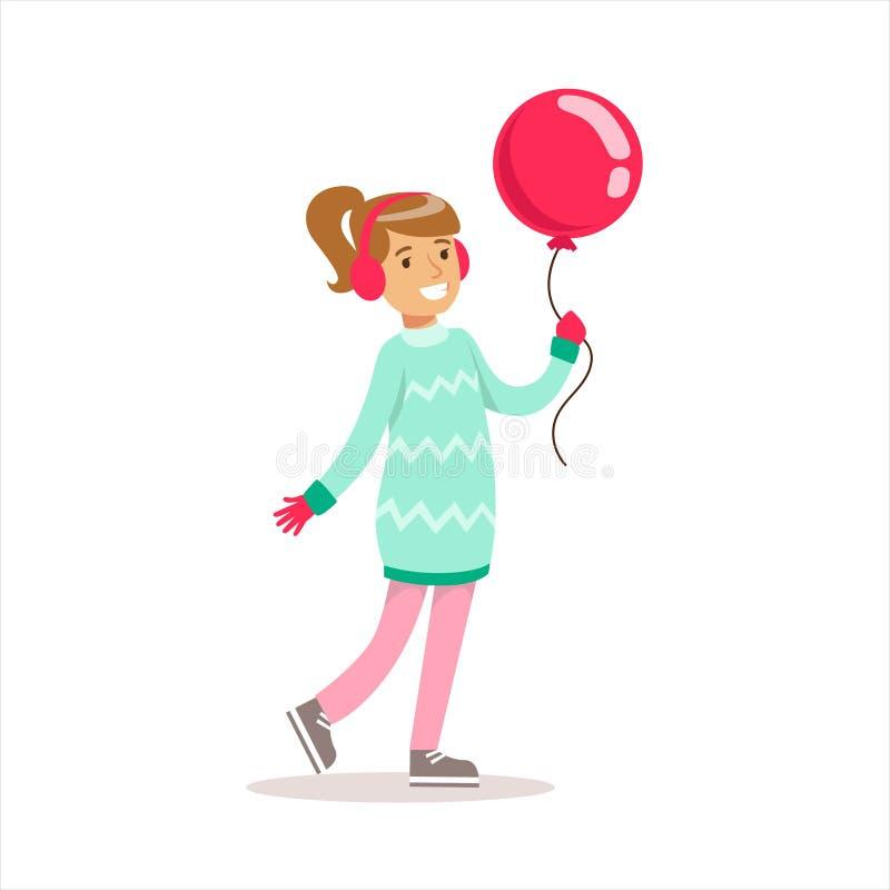 Het gelukkige Meisje in Klassieke Girly-Kleur kleedt Glimlachend Beeldverhaalkarakter die met Ballon lopen royalty-vrije illustratie