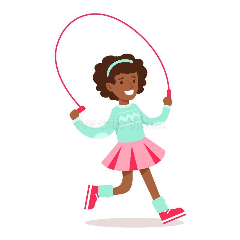 Het gelukkige Meisje in Klassieke Girly-Kleur kleedt Glimlachend Beeldverhaalkarakter die met Touwtjespringen lopen stock illustratie