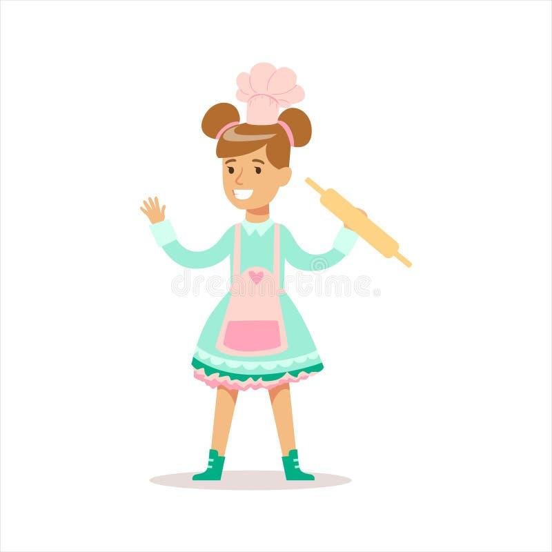 Het gelukkige Meisje in Klassieke Girly-Kleur kleedt het Glimlachen Beeldverhaalkarakter het Koken in Schort met Deegrol vector illustratie