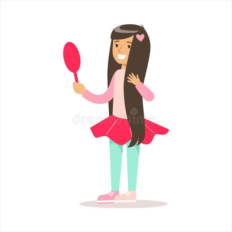 Het gelukkige Meisje met Lang Donker Haar in Klassieke Girly-Kleur kleedt Glimlachend Beeldverhaalkarakter die in de Spiegel kijk stock illustratie