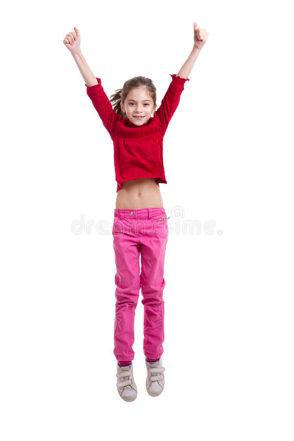 Het gelukkige meisje springen stock fotografie