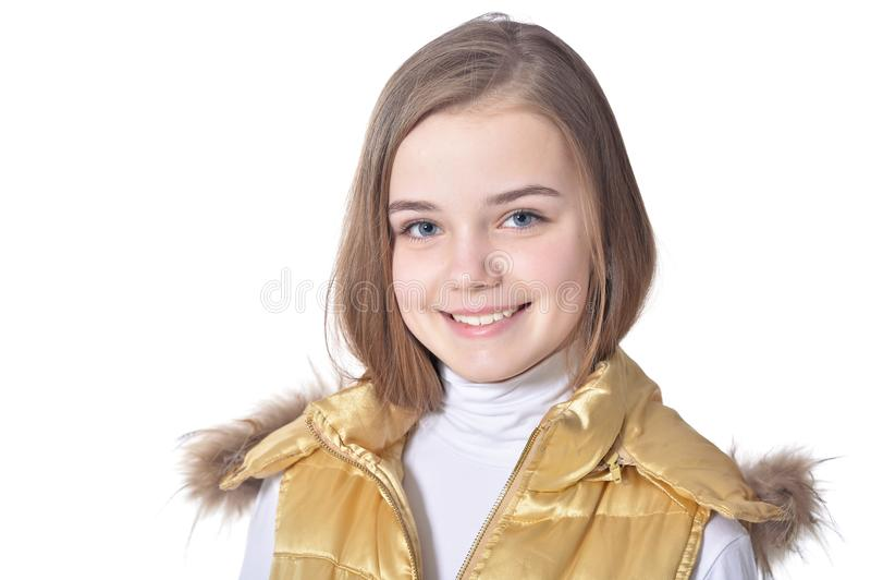 Het gelukkige meisje stellen stock foto's