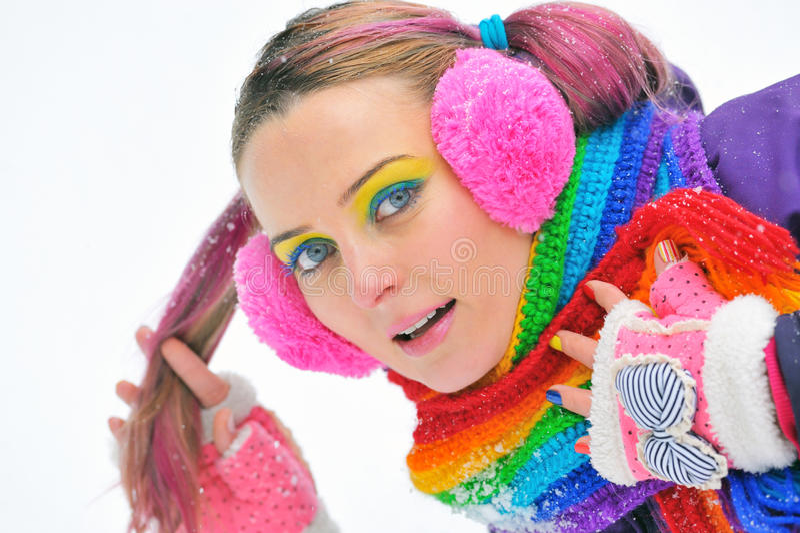 Het gelukkige Meisje van de Winter royalty-vrije stock afbeelding
