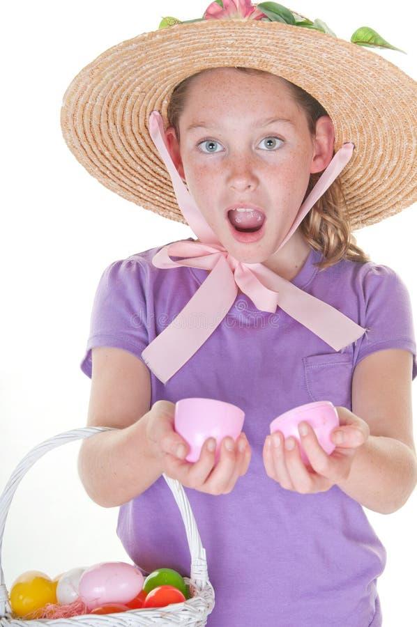 Het gelukkige meisje van Pasen stock afbeeldingen
