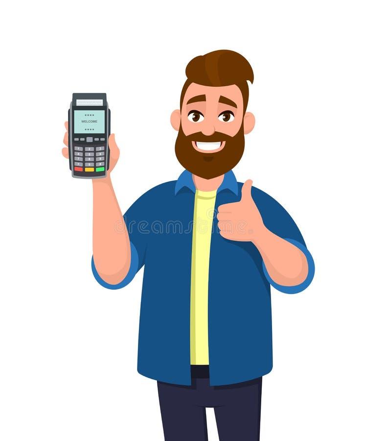 Het gelukkige mens tonen/de kaart van het holdingskrediet/van het debet en POS-terminalbetaalkaart jatten machine en de gesturing royalty-vrije illustratie