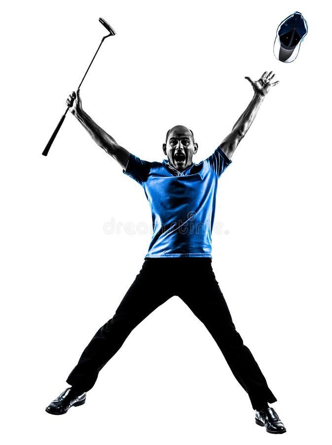 Het gelukkige mensengolfspeler golfing springen   silhouet stock afbeelding