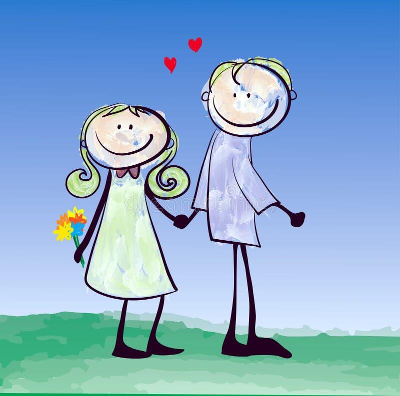 Het gelukkige minnaarpaar dateren stock illustratie
