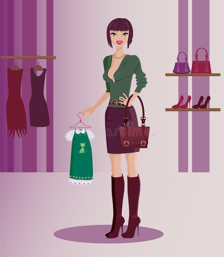het gelukkige modieuze vrouw winkelen vector illustratie
