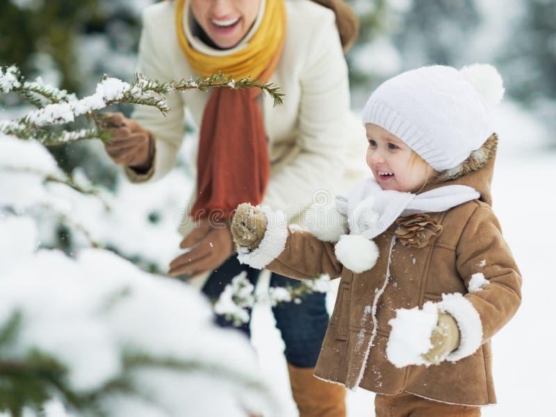 Het gelukkige moeder en baby spelen met sneeuw op tak stock afbeelding