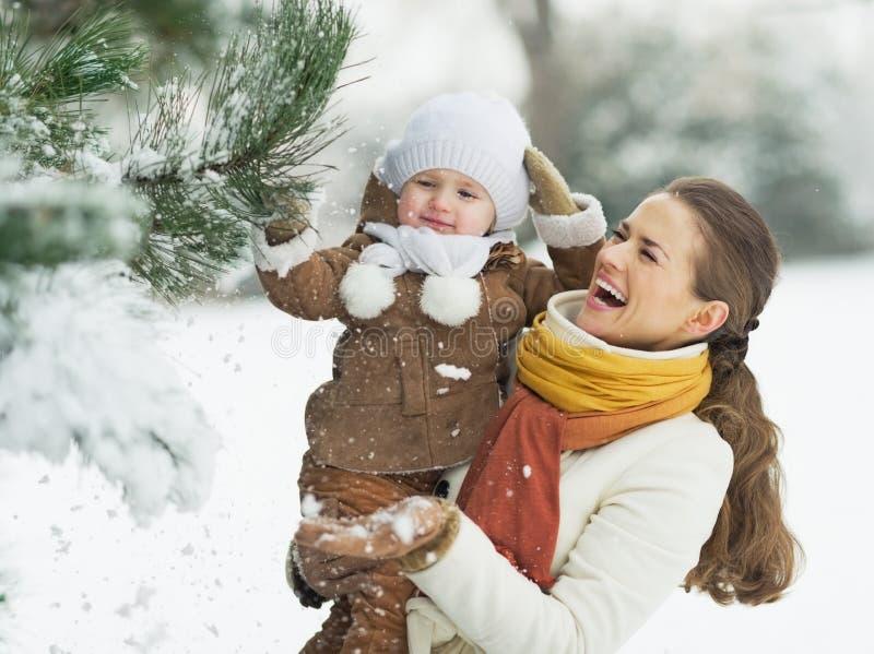 Het gelukkige moeder en baby spelen met sneeuw op tak royalty-vrije stock afbeelding