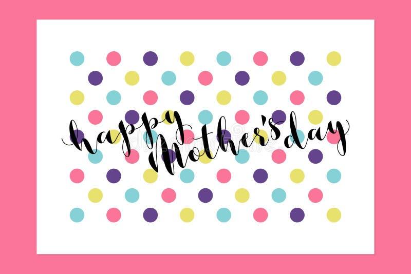 Het gelukkige Moedersdag kalligrafische van letters voorzien op multicolored stip royalty-vrije illustratie