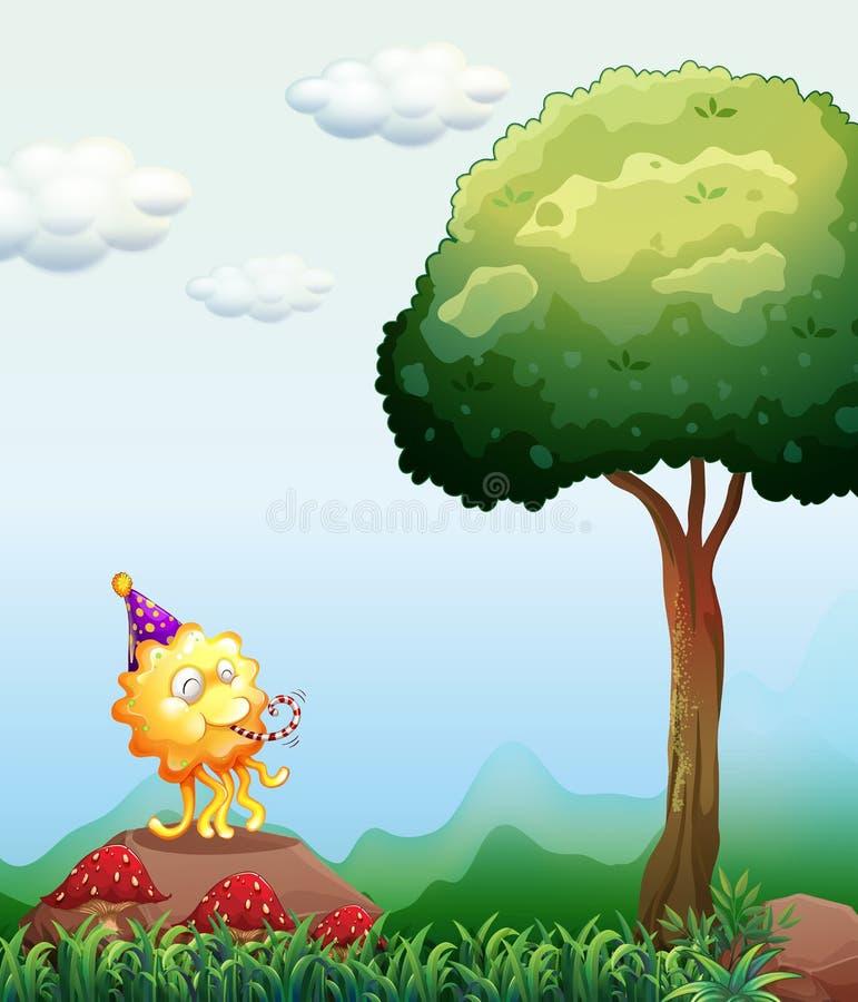 Het gelukkige monster vieren boven de rots vector illustratie