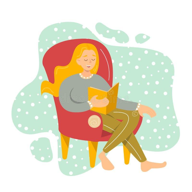 Het gelukkige mooie vrouwelijke karakter zit in de comfortabele leunstoel stock illustratie