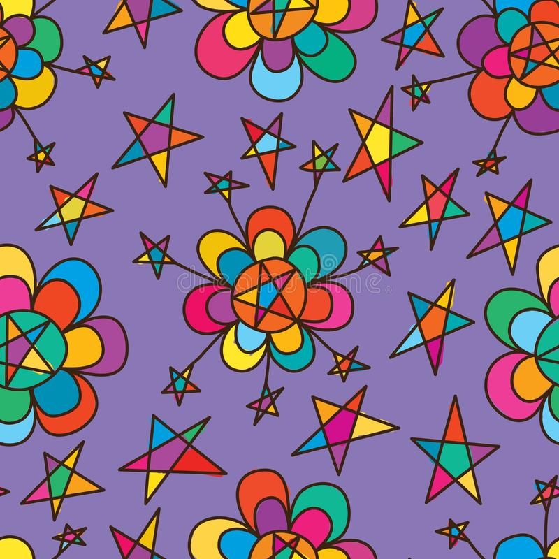Het gelukkige naadloze patroon van de bloemstijl royalty-vrije illustratie